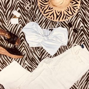 Forever 21 Tops - White Knot Tie Front Bralette Top Forever 21